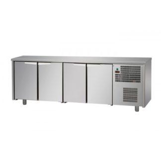 Tables réfrigérées 4 portes inox sans dosseret
