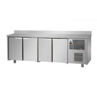Tables réfrigérées 4 portes inox avec dosseret