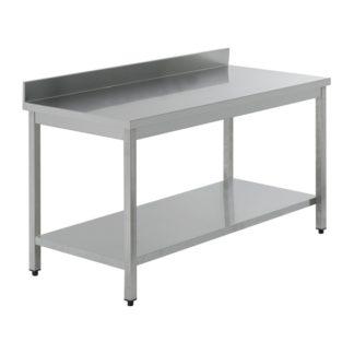Table inox 70 x 70 x 85H avec dosseret