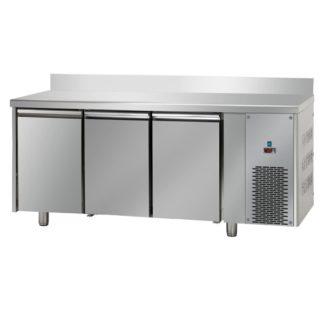 Table réfrigérée négative 3 portes inox avec dosseret