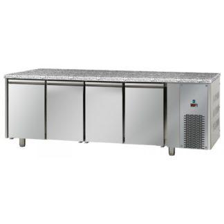 Table réfrigérée négative 4 portes inox dessus granit