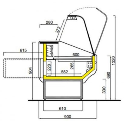 Vitrine réfrigérée 100 cm vitres bombées froid statique TICO