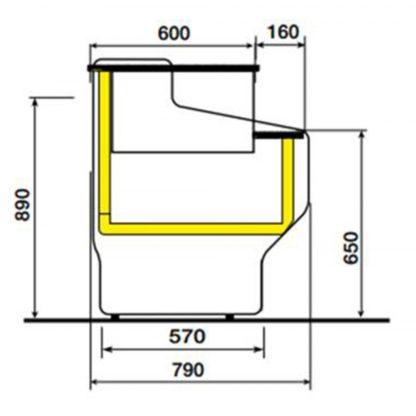 Meuble caisse 100 cm pour vitrine HILL