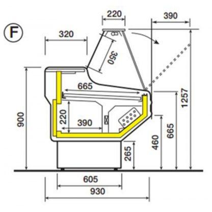 Vitrine réfrigérée 150 cm vitres droites inclinées froid statique ou ventilé