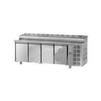 Table réfrigérée snack 4 portes meuble cuisine inox
