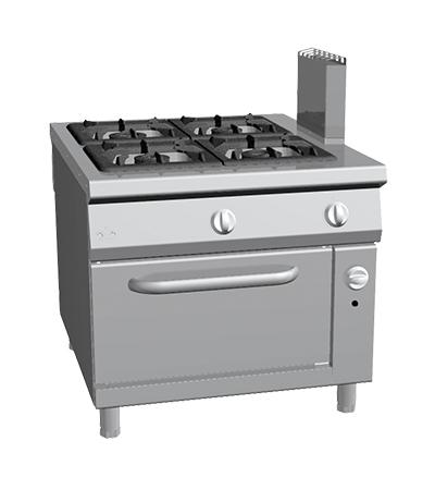 Piano de cuisson 4 feux gaz sur four gaz gamme 1100 four mixte